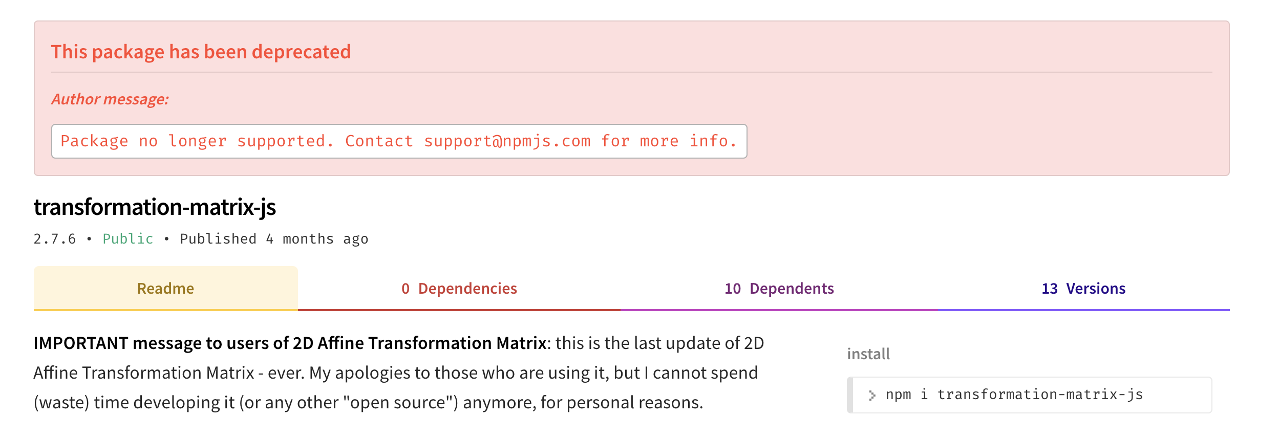 transformation-matrix-js is not supported anymore · Issue