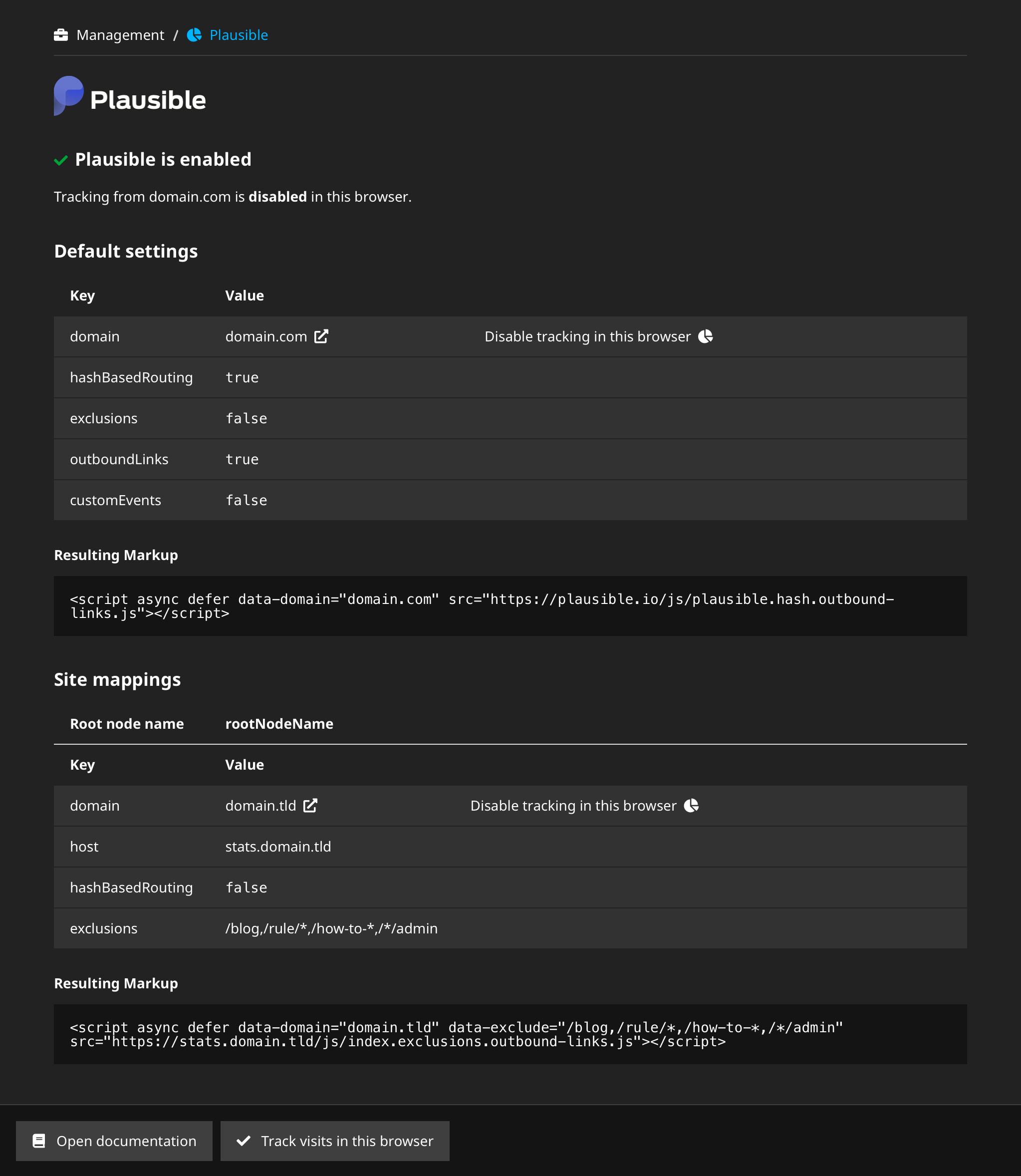 screenshot of backend module as administrator