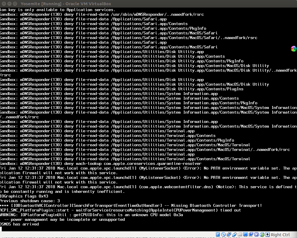 Hangs during initial boot - Yosemite and VB 5 2 4 on Linux · Issue