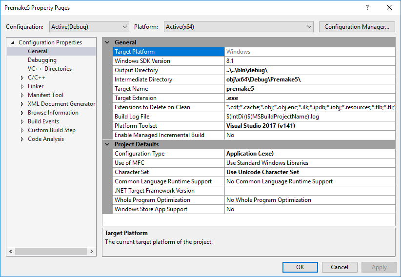 vs2017 action results in solution that targets Windows SDK