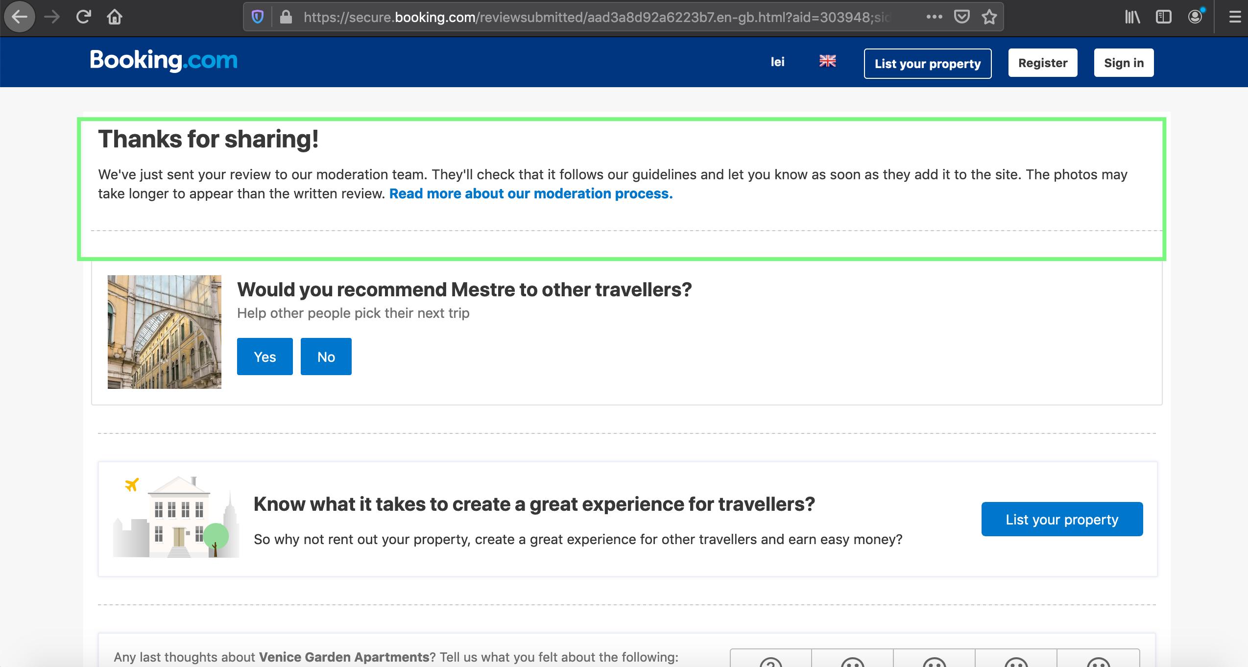 secure booking com - see bug description