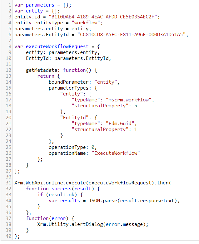 Xrm WebApi 9 1 ExecuteWorkflow Action · Issue #60 · jlattimer