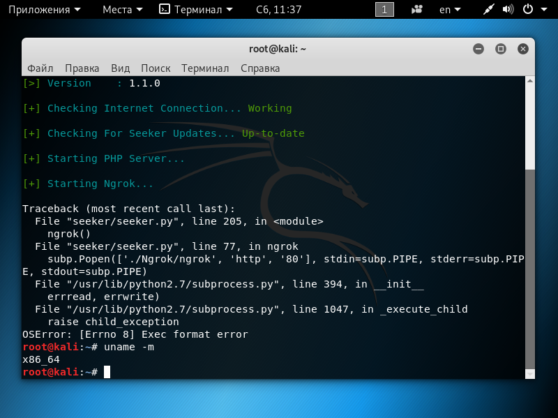 Run error (Kali Linux) · Issue #42 · thewhiteh4t/seeker · GitHub