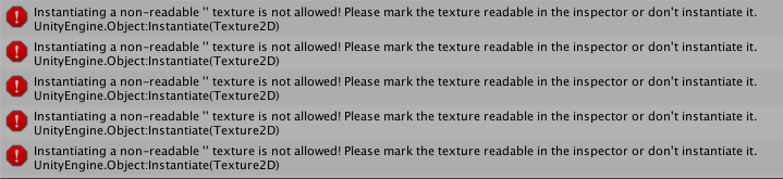 Instantiating a non-readable '' texture is not allowed