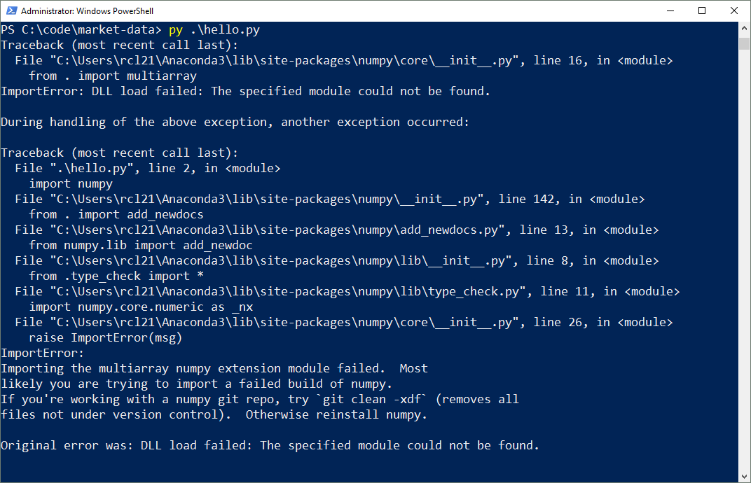 Importing the multiarray numpy extension module failed