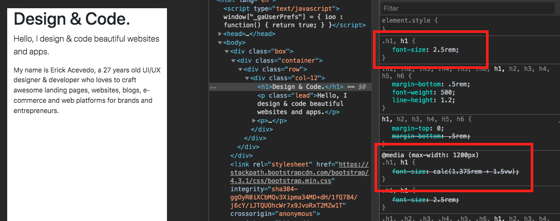 Responsive Font Size not working after boostrap source code is