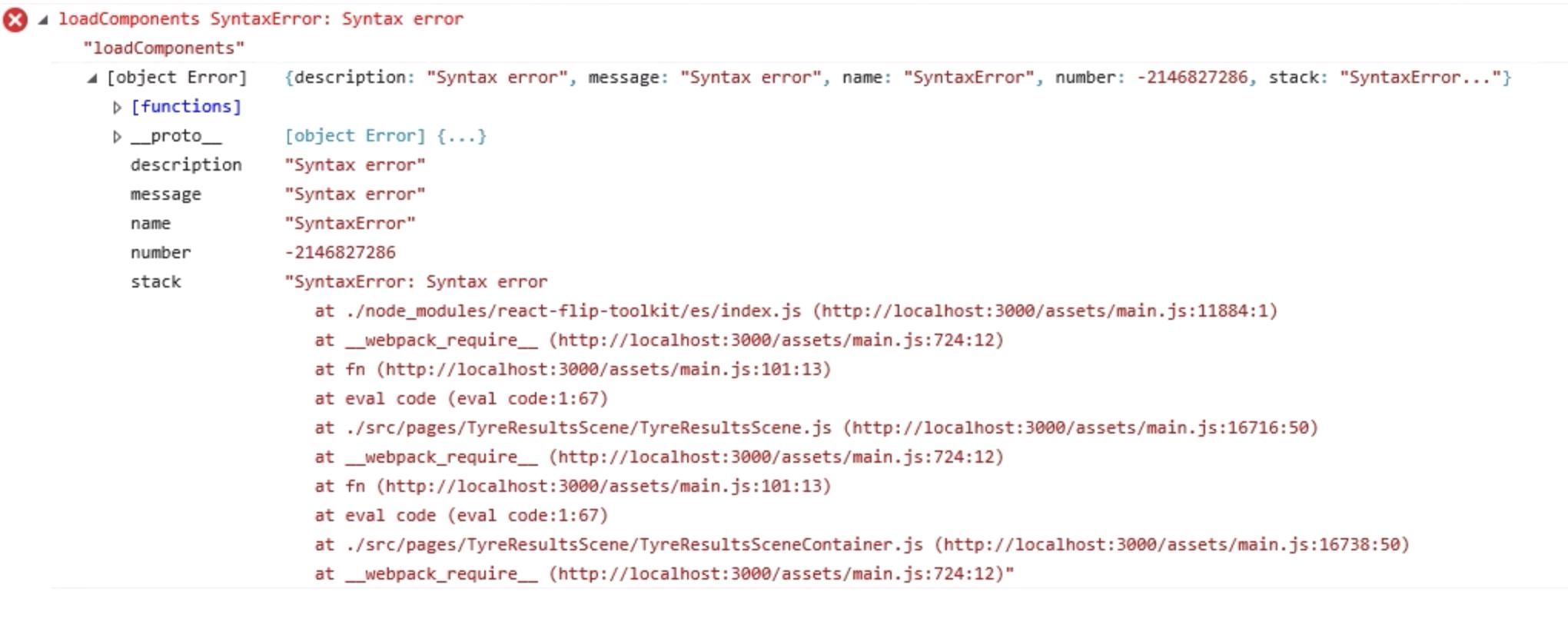 IE11 - loadComponents Syntax Error: Syntax Error -