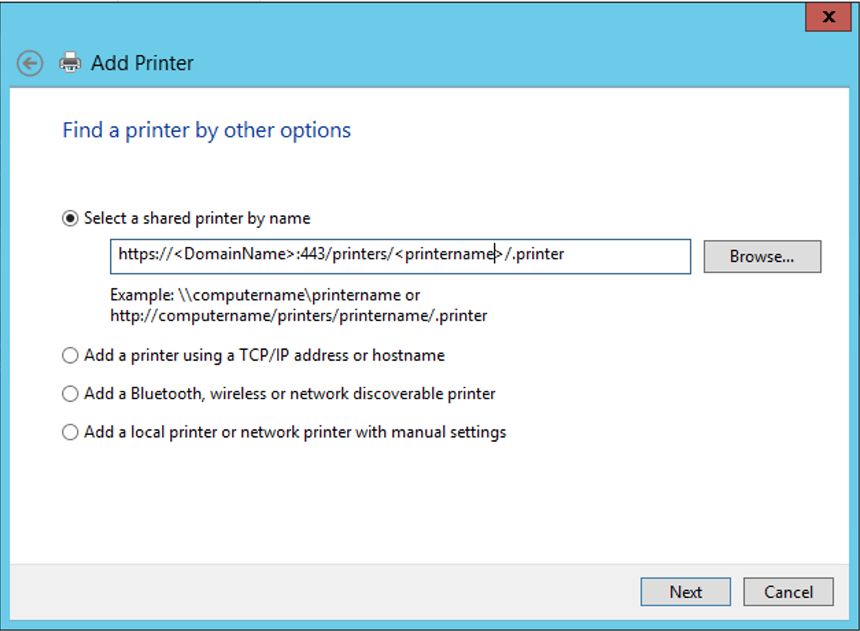CUPS integration with Windows Print Server using HTTPS taking 4
