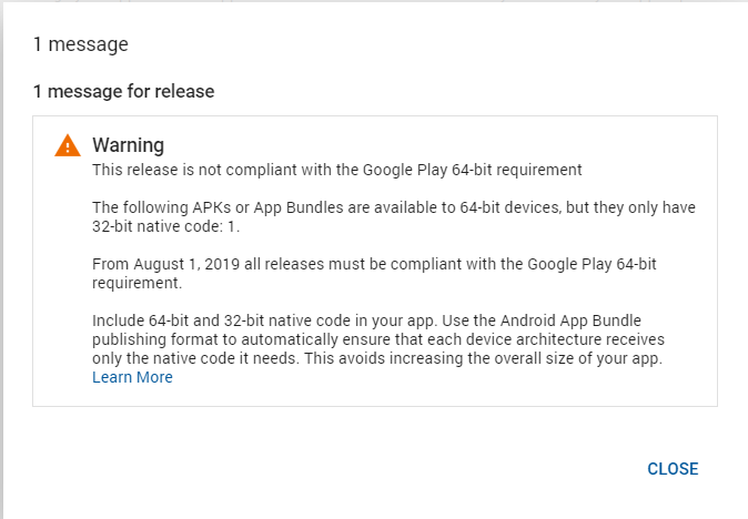 This release is not compliant with the Google Play 64-bit