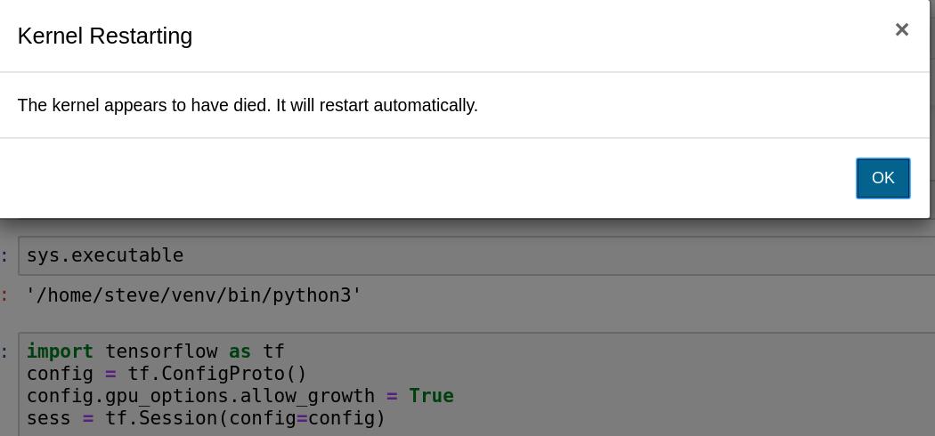 Jupyter Notebook kernel dies - Tensorflow-gpu 1 15/2 0