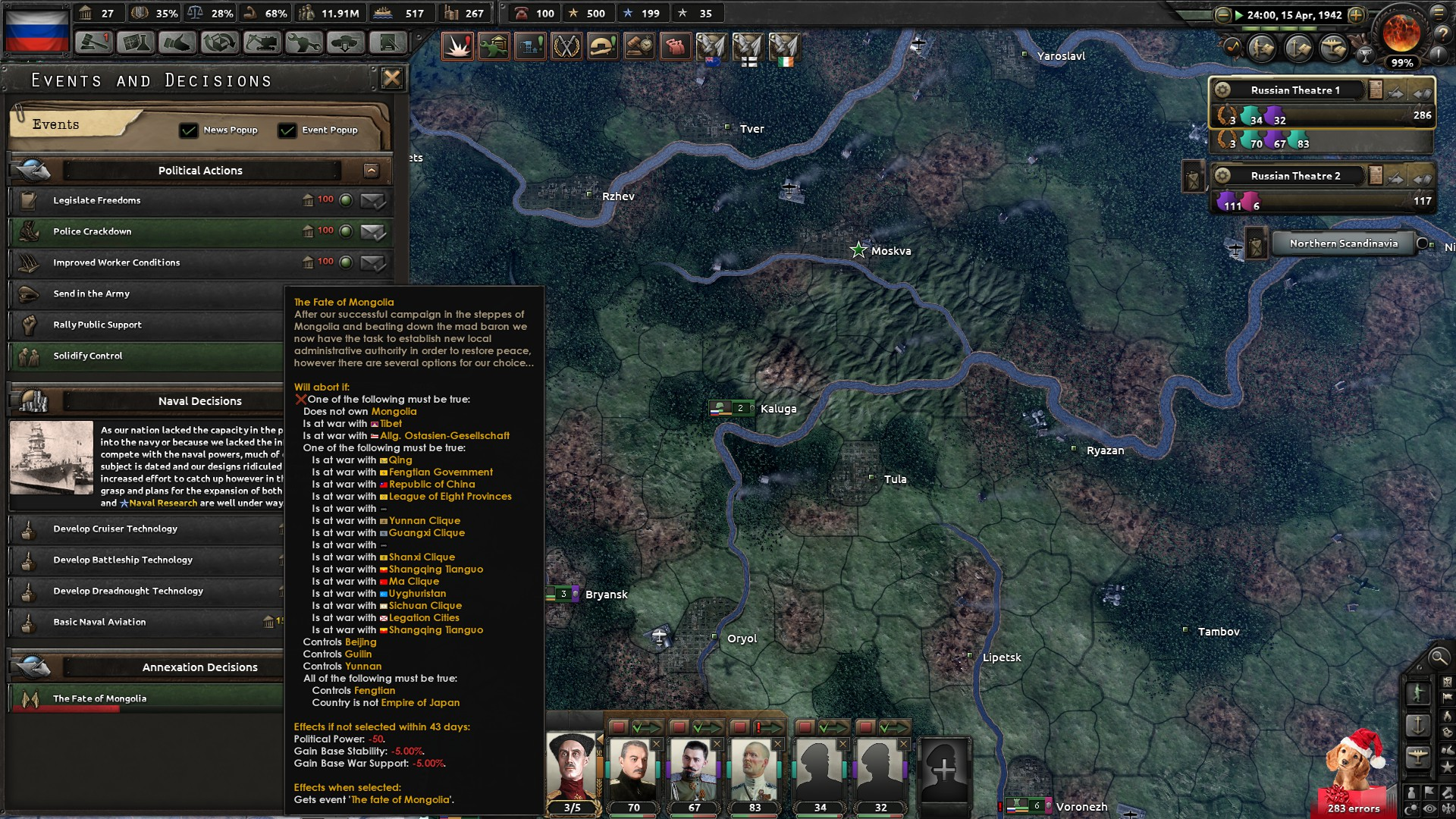 Play as Russia, defeated Mongolia, tried to integrate