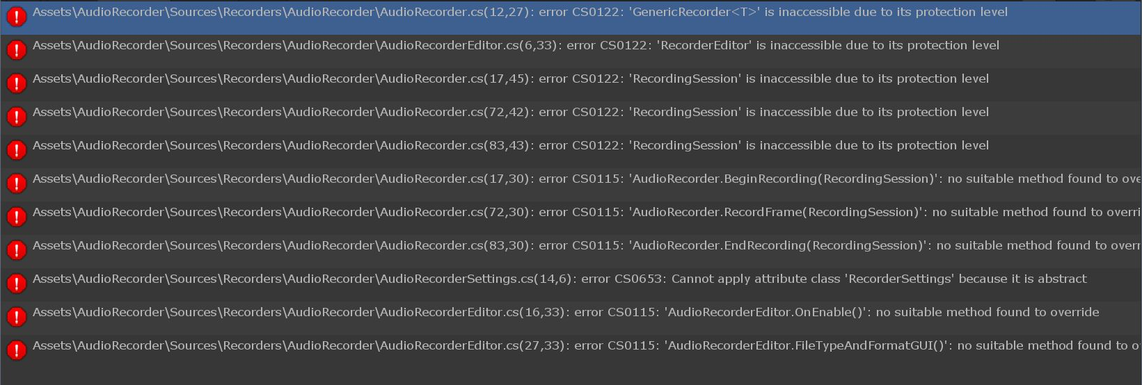 AudioRecorder doesn't work with Asset Store version of the Recorder