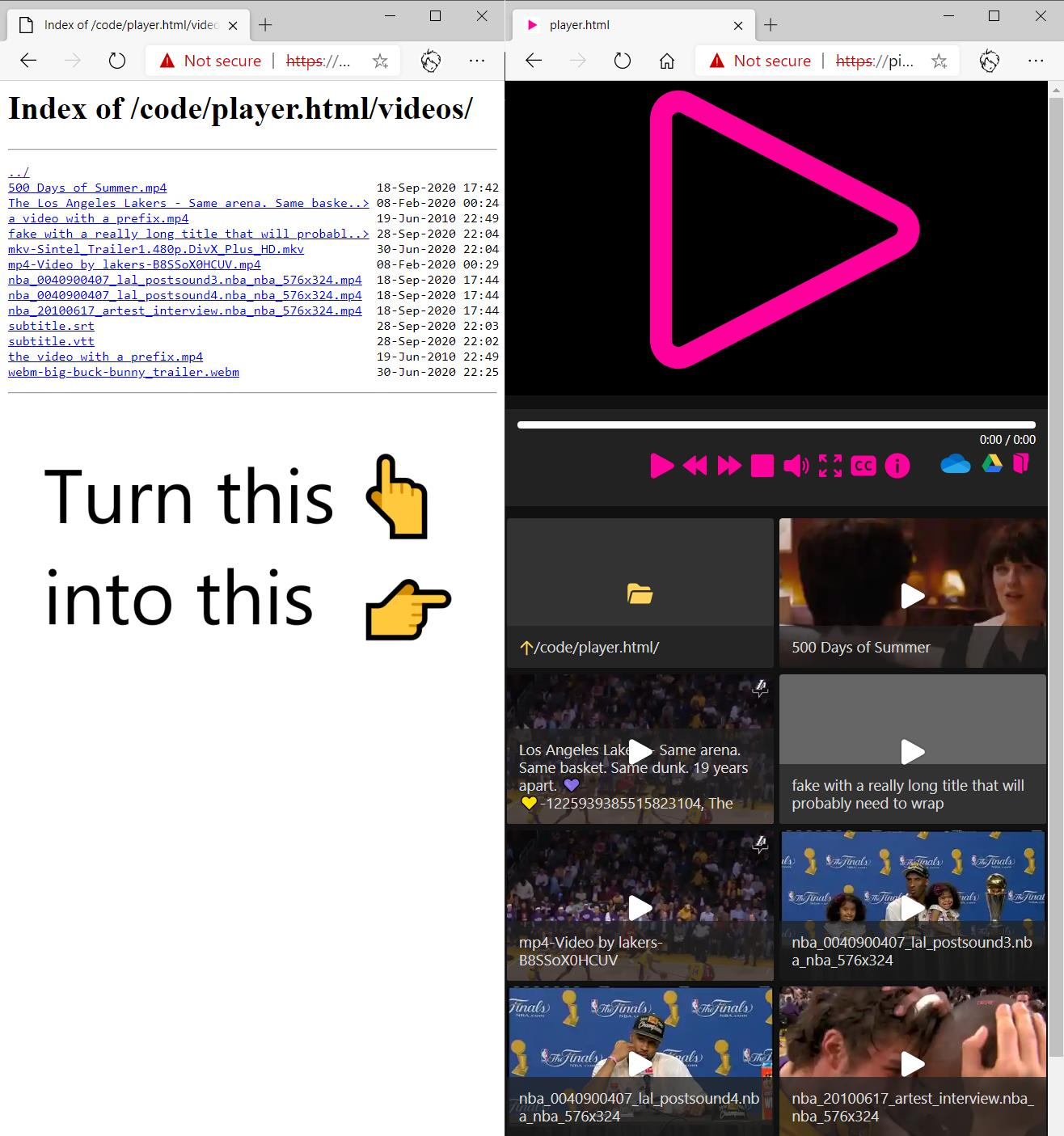 player.html in action