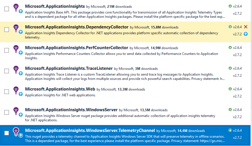 Updating Application Insights to higher version than 2 6 4