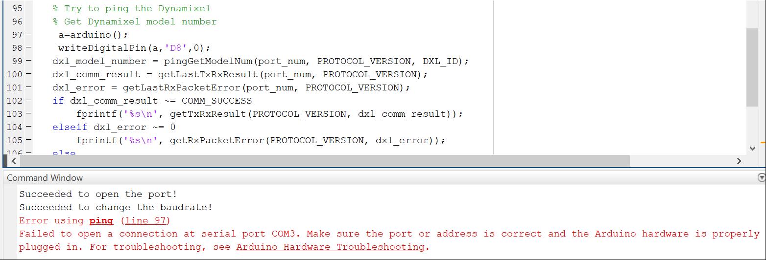 3 6 2][MATLAB][MEGA/MAX485][MX-64R] Issue : Communicating with servo