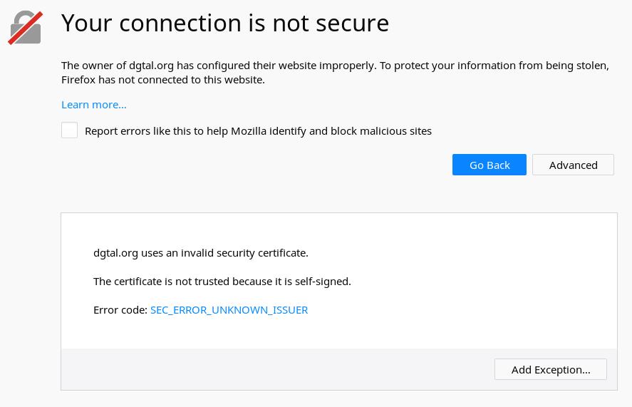Webpage Ssl Certificate Problem Issue 1308 Dgtal Teamdgtal