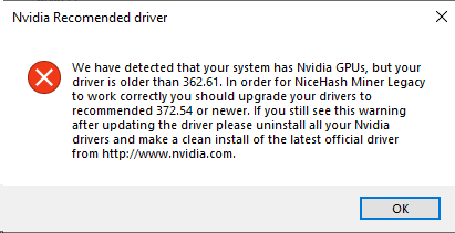 NHML saying Nvidia driver is too old even when i updated it
