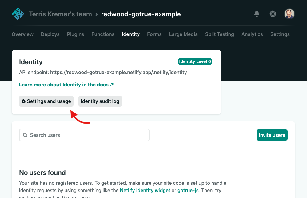 Netlify Identity Settings screenshot