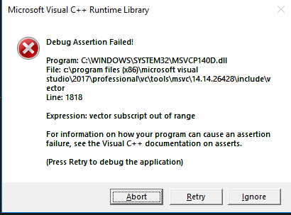 Tutorial code for C++ crashes on Windows in Debug builds