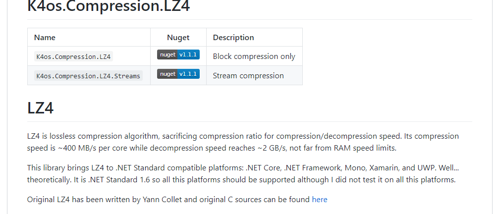Change compression algoritm from gzip to lz4 · Issue #72