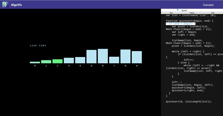 AlgoVis running Quicksort