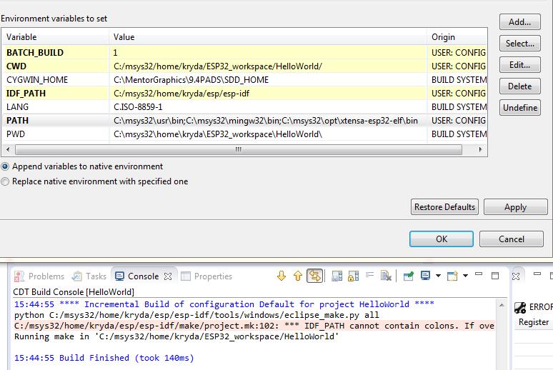 IDF_PATH didn't work with Eclipse under windows  · Issue