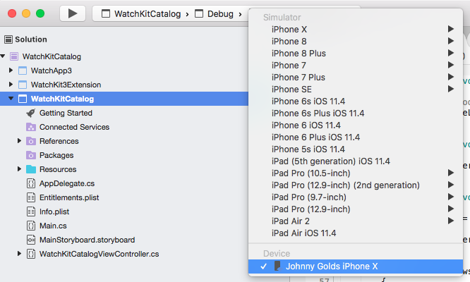 Physical Apple watch does not show up in the Device list in either