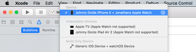 Physical Apple watch does not show up in the Device list in