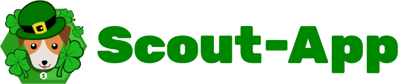 Scout-App logo featuring Scout the puppy with shamrocks and a green hat