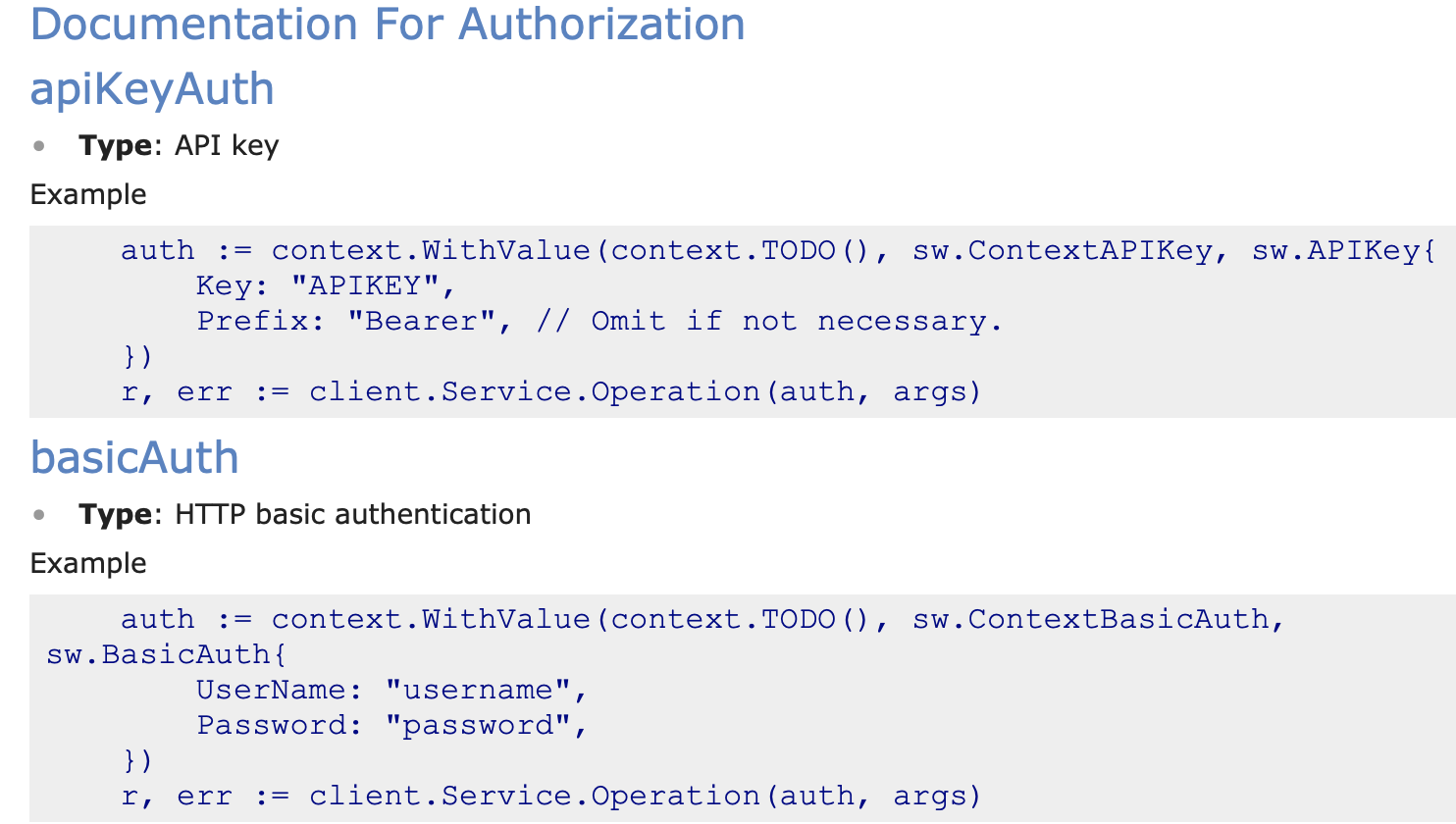 rust client] Generated README auth section is for Go, not Rust
