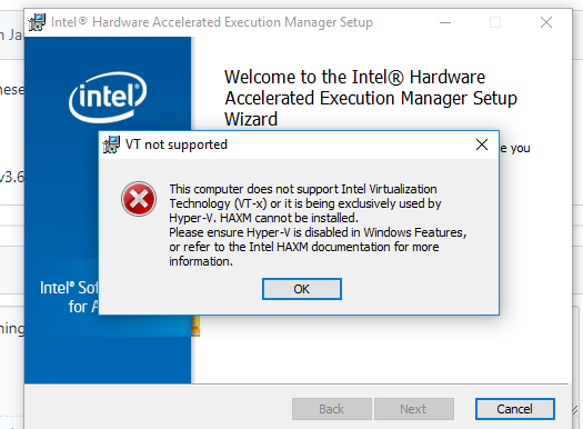 HAXM says Hyper-V is enabled when Windows says it is not · Issue