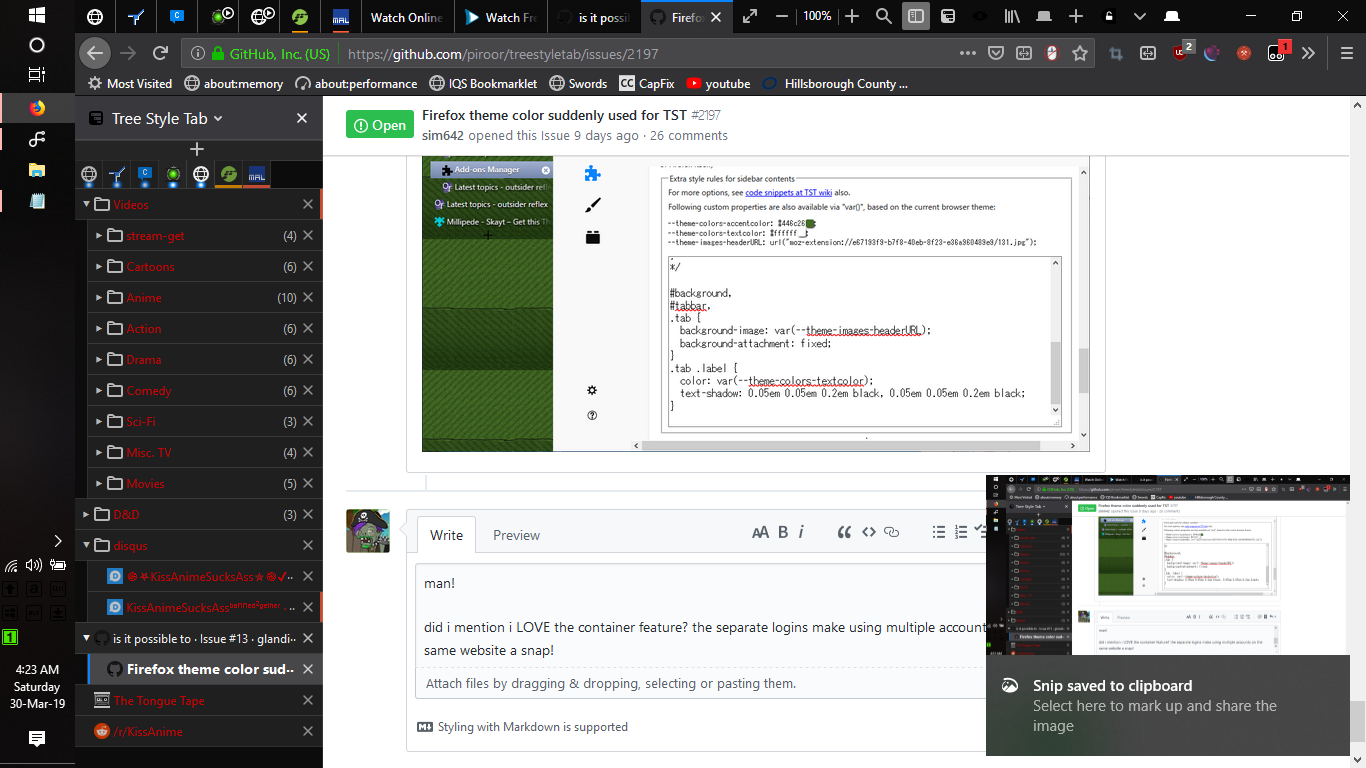 Firefox theme color suddenly used for TST · Issue #2197