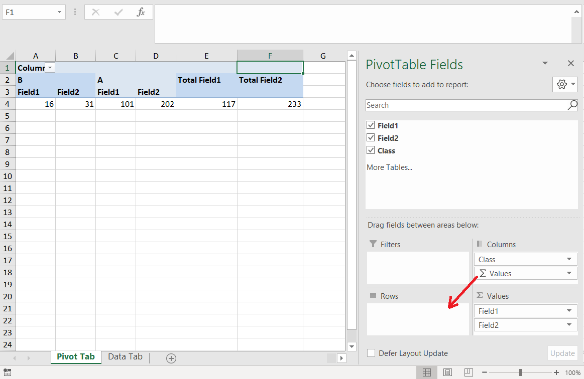 Displaying aggregated values in a Pivot Table as Rows