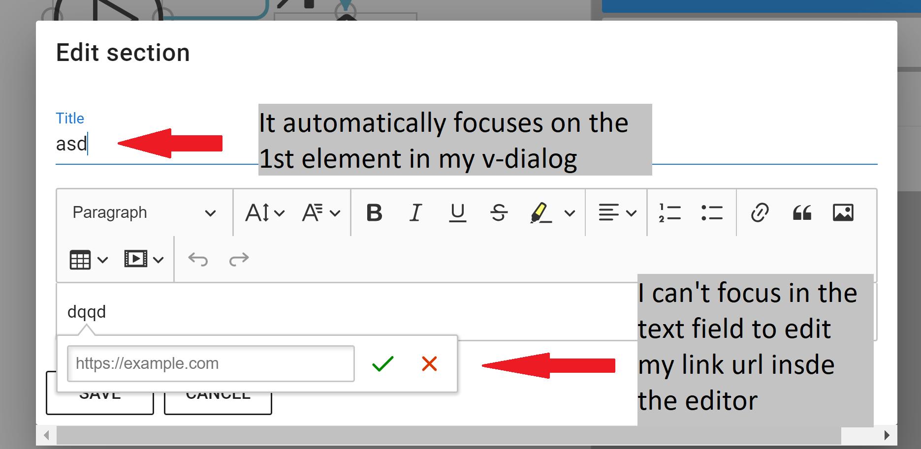 Bug Report] V-Dialog Regression BreaksTinyMCE Inside Dialog · Issue
