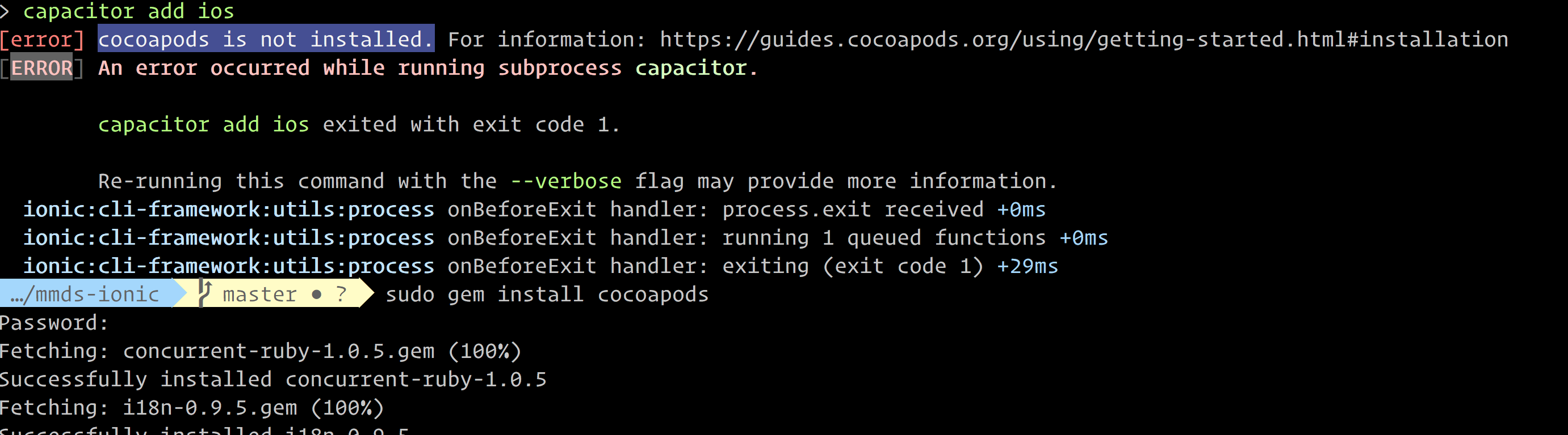 ionic capacitor add ios` command fails with