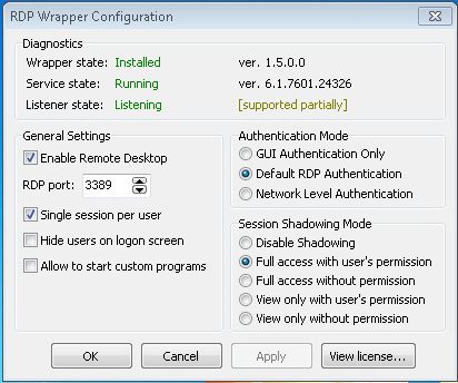 Supported Partially] in Windows 7 · Issue #686 · stascorp/rdpwrap