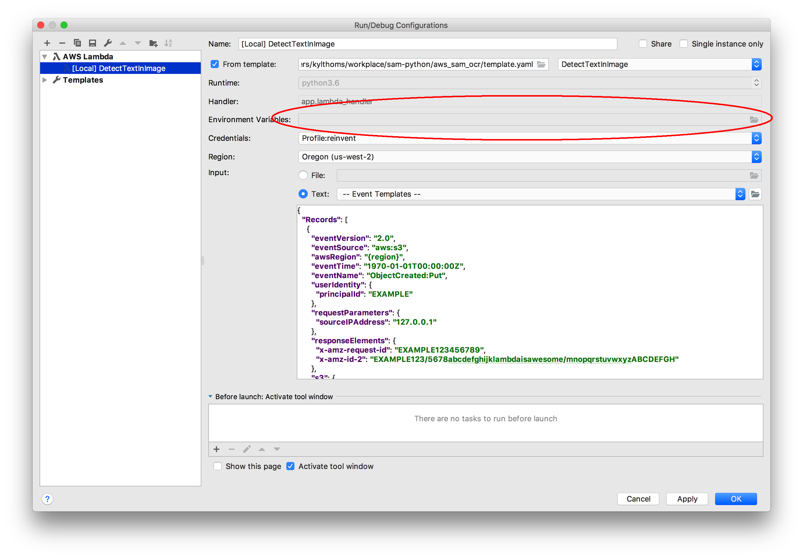 SAM Local Run Configuration environment variables