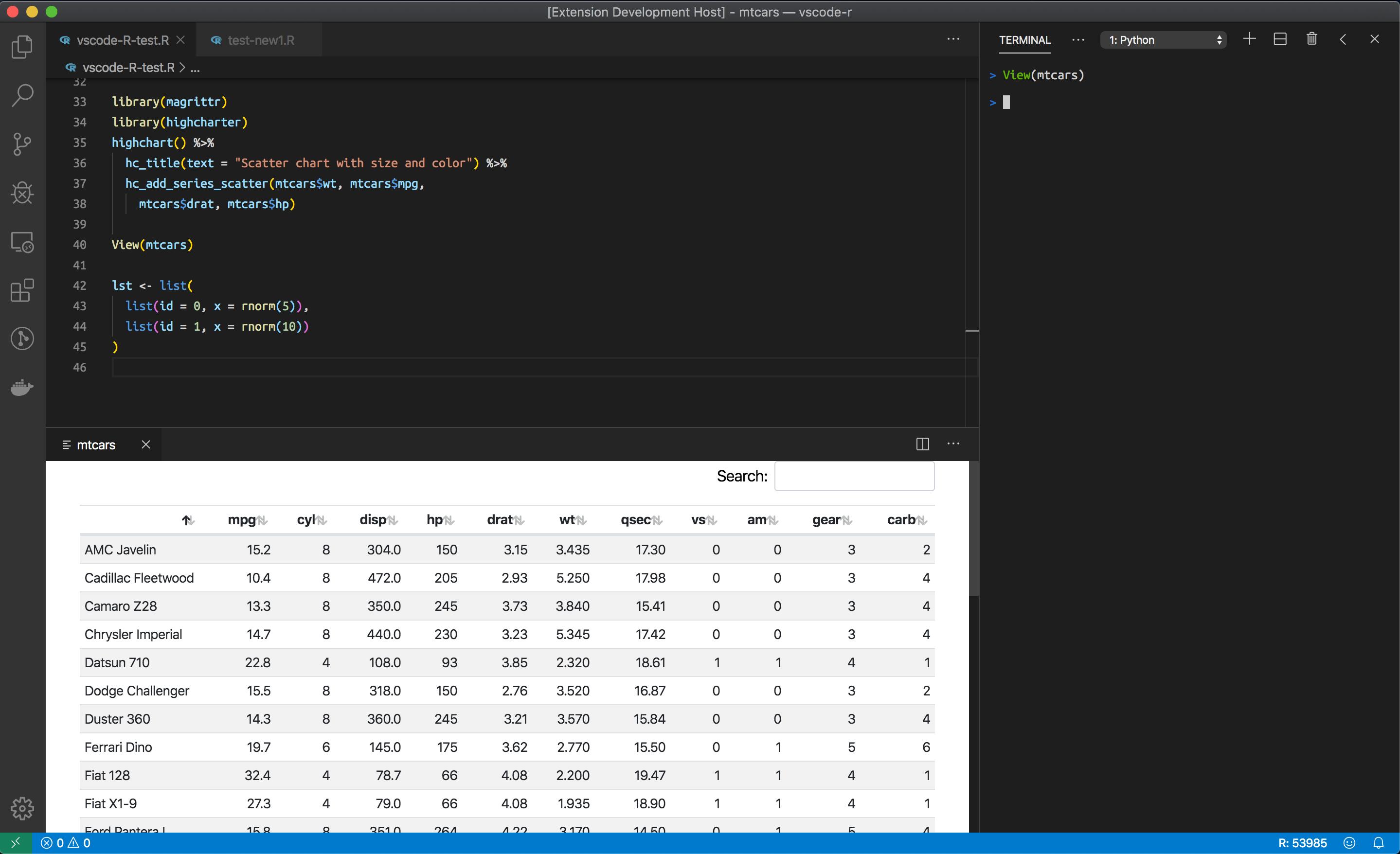 View data frame