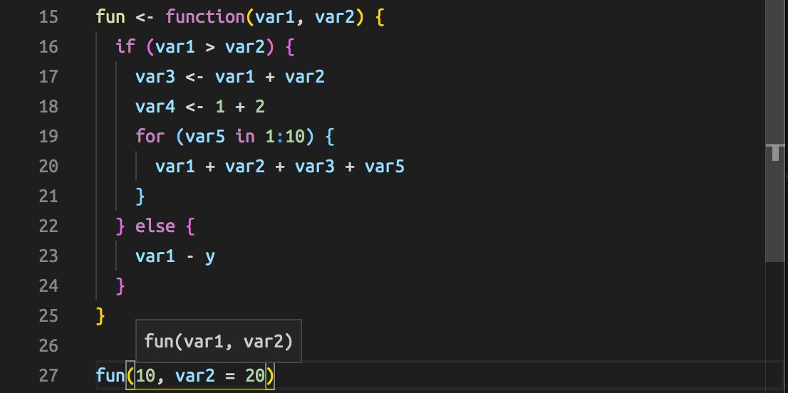 User function signature