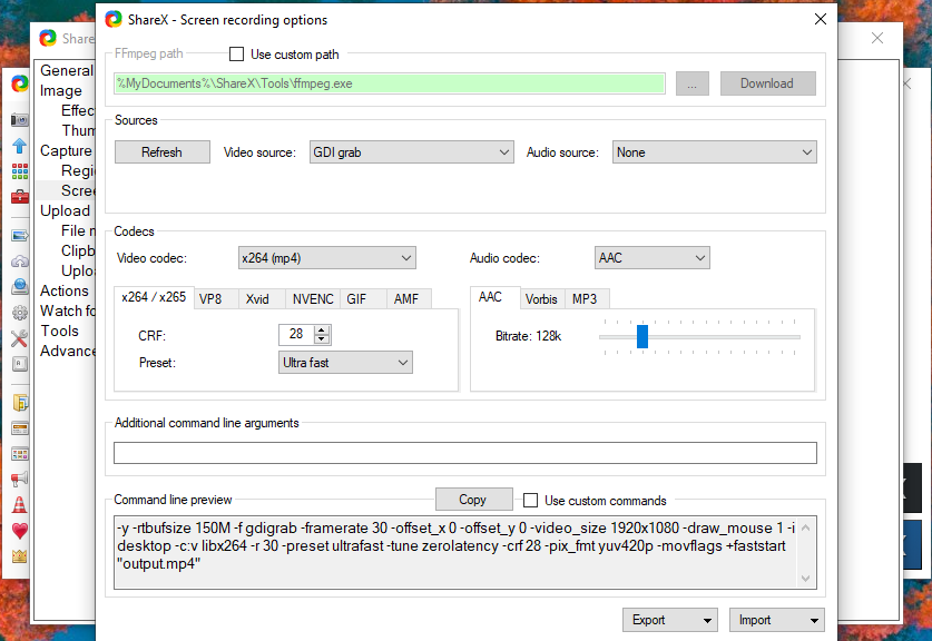 ShareX Microsoft Store App - Issue with ffmpeg download · Issue