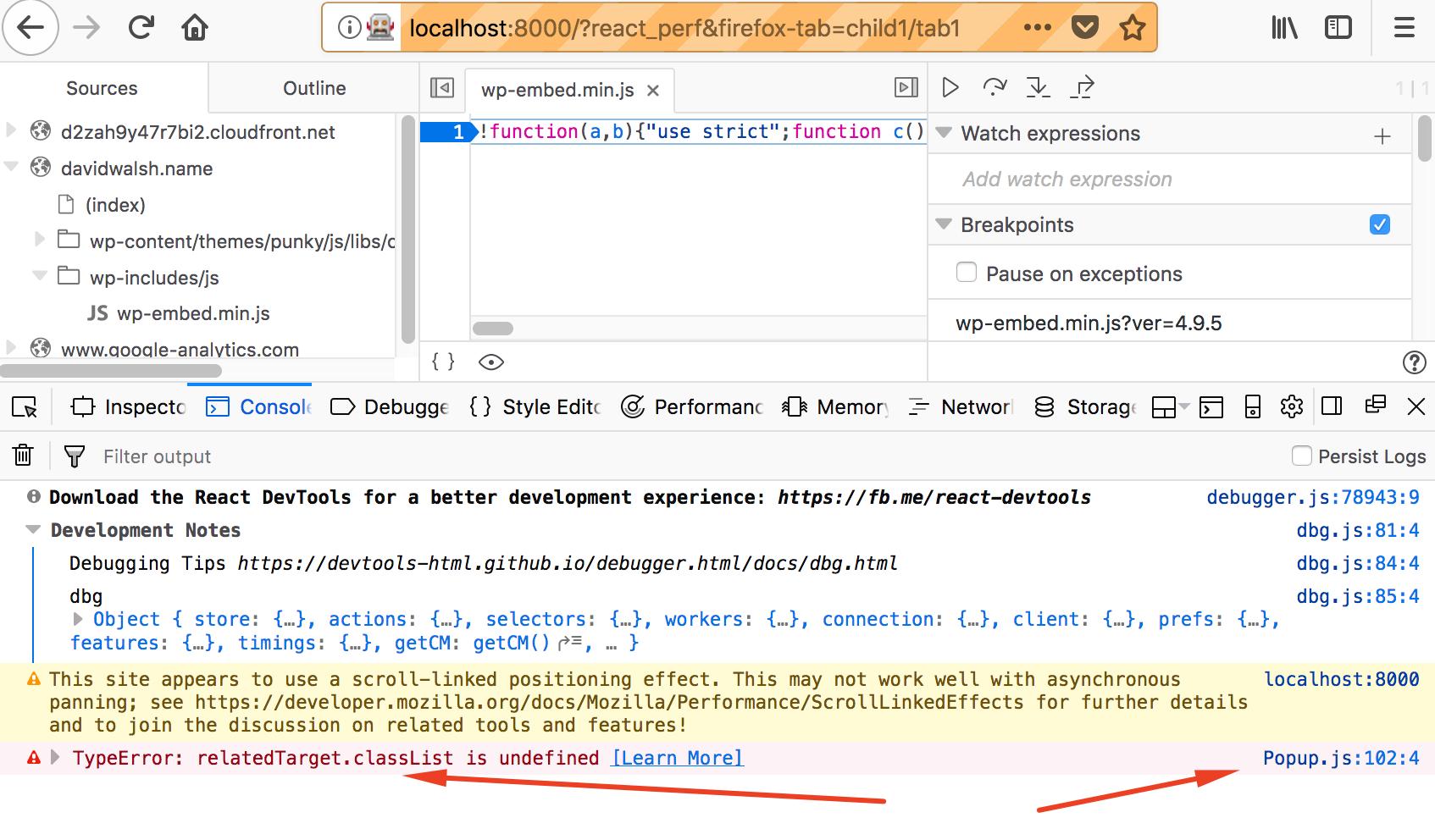Error: relatedTarget classList is undefined in Popup js