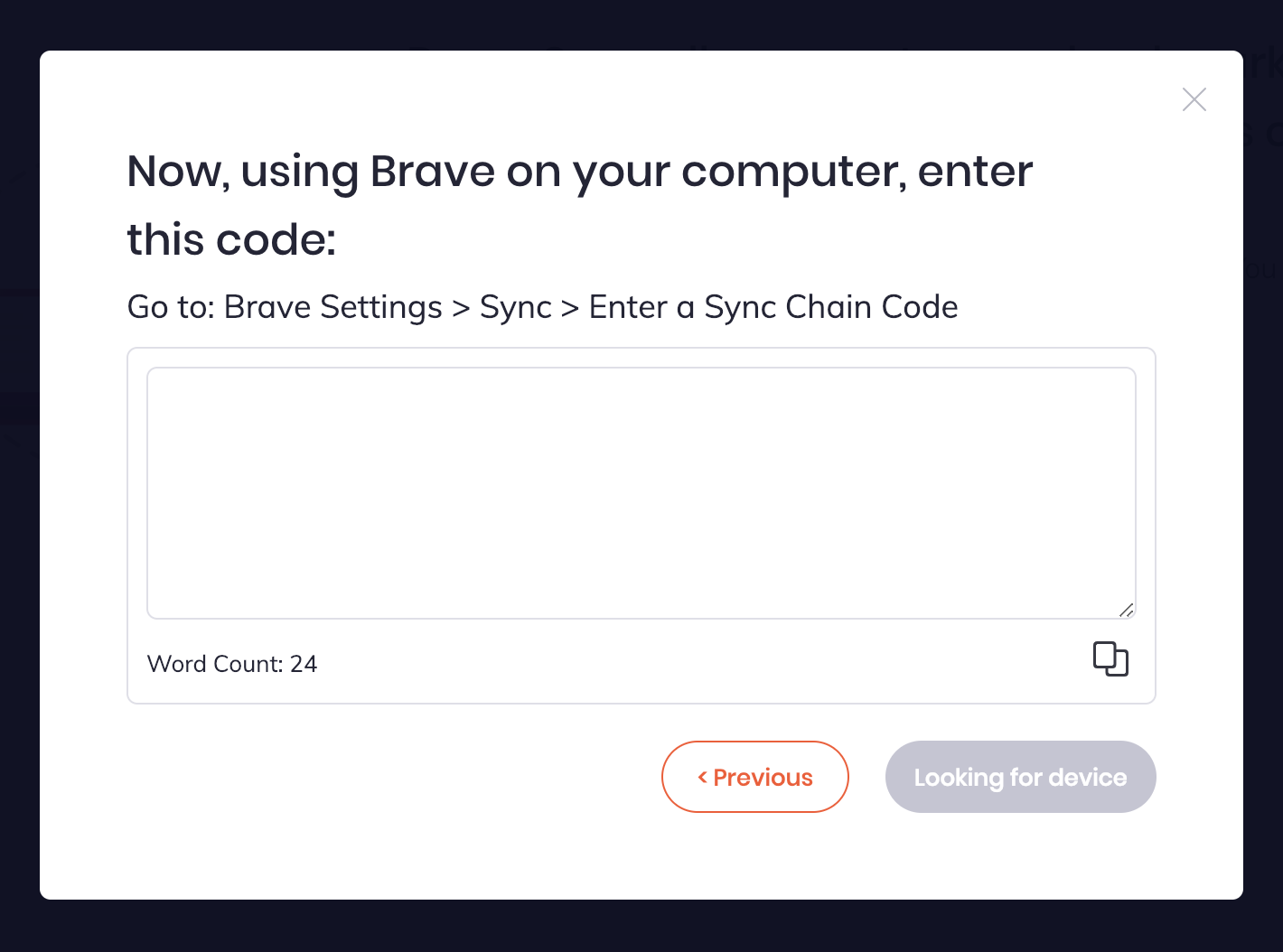 Sync `I have code words` modal doesn't show words · Issue