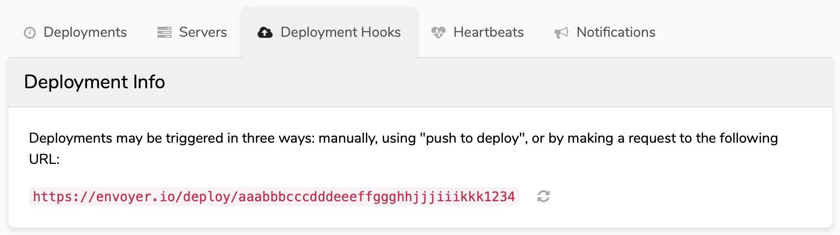 envoyer project webhook