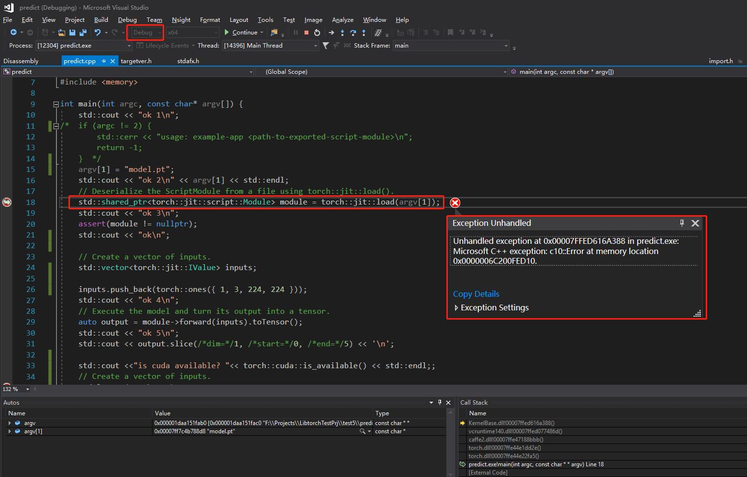 Libtorch C++ model predict/forward propagation crashed on windows10