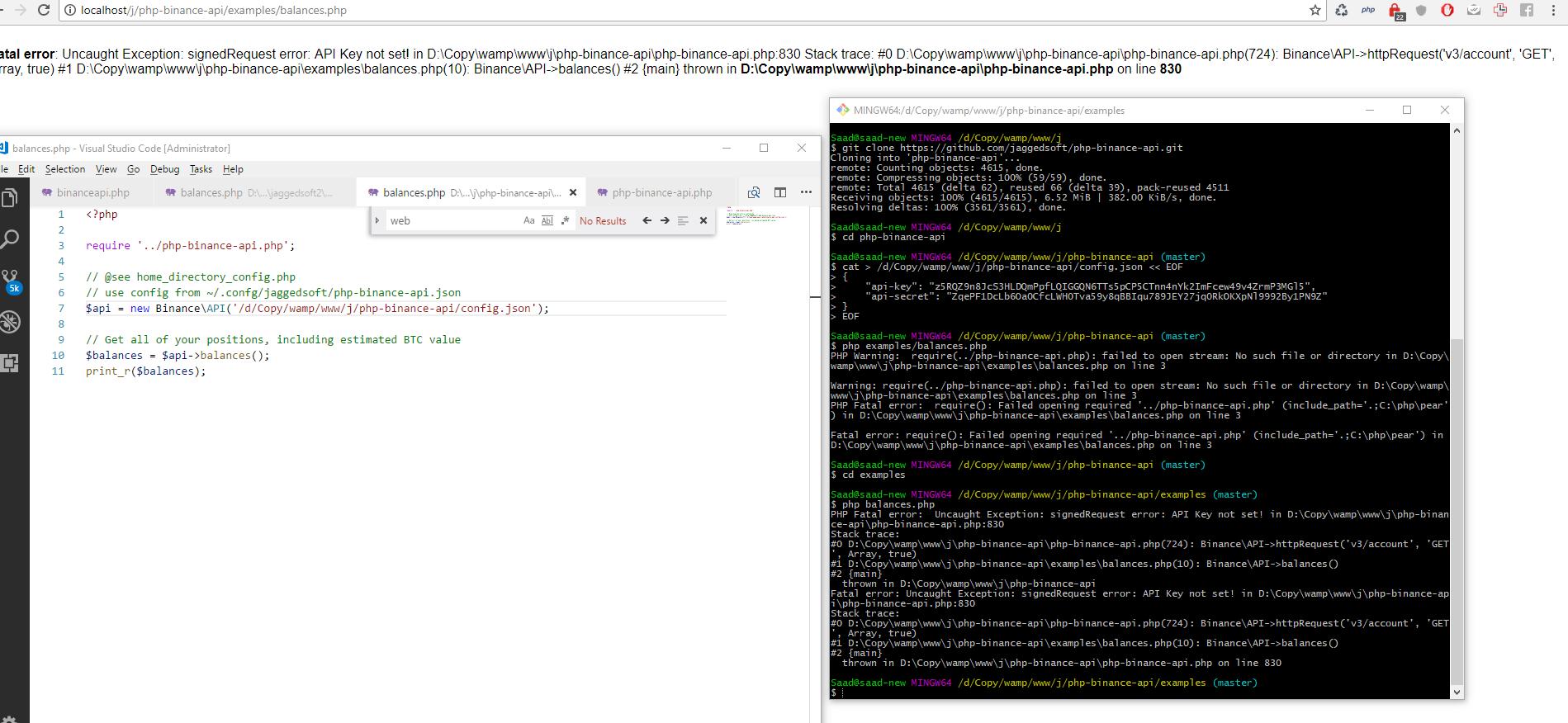 Api keys not working · Issue #137 · jaggedsoft/php-binance