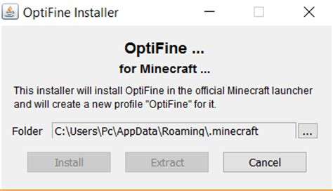 Java binary not an option to open optifine