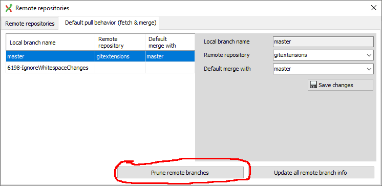 Prune remote branches from Remote repositories dialog not