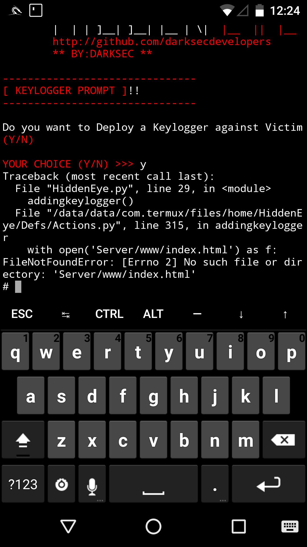 Keylogger Error · Issue #195 · DarkSecDevelopers/HiddenEye · GitHub