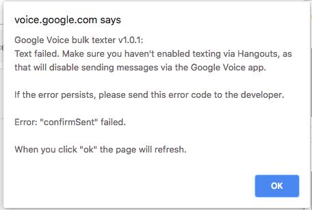 Confirmsent Error Issue 31 Brismuth Google Voice Bulk Texter Github