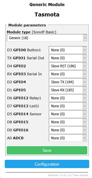 TasmotaClient GPIO Configuration